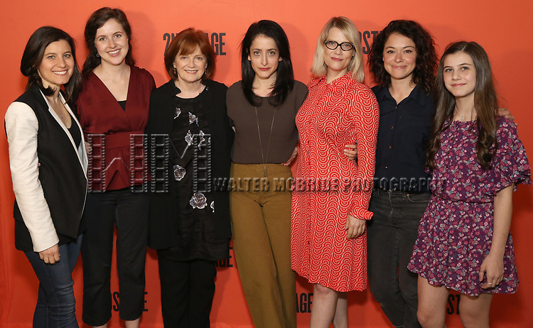 Director Lila Neugebauer (center) with her stars of 'Mary Page Marlowe' : Susan Pourfar, Emma Geer, Blair Brown, Kellie Overbey, Tatiana Maslany, and Mia Sinclair Jenness during the photo call for the Second Stage production of 'Mary Page Marlowe' on June 12, 2018 in New York City.
