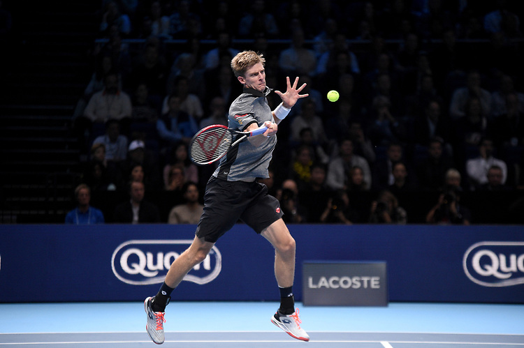 Kevin Anderson in action against Novak Djokovic in their semi final match <br /> <br /> Photographer Hannah Fountain/CameraSport<br /> <br /> International Tennis - Nitto ATP World Tour Finals Day 7 - O2 Arena - London - Saturday 17th November 2018<br /> <br /> World Copyright © 2018 CameraSport. All rights reserved. 43 Linden Ave. Countesthorpe. Leicester. England. LE8 5PG - Tel: +44 (0) 116 277 4147 - admin@camerasport.com - www.camerasport.com