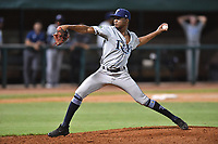 Princeton Rays pitcher Steffon Moore (38) delivers a pitch during game two of the Appalachian League Championship Series against the Elizabethton Twins at Joe O'Brien Field on September 5, 2018 in Elizabethton, Tennessee. The Twins defeated the Rays 2-1 to win the Appalachian League Championship. (Tony Farlow/Four Seam Images)
