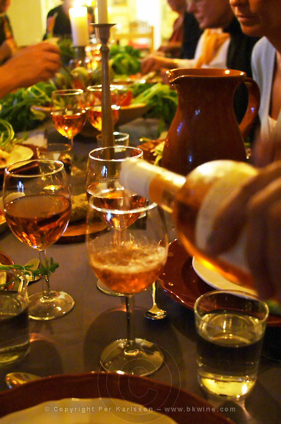 Rose wine from Provence being served to dinner guests Clos des Iles Chambres d'Hotes Bed and Breakfast Le Brusc Six Fours Cote d'Azur Var France
