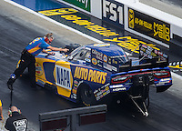 Sep 17, 2016; Concord, NC, USA; Rahn Tobler , crew chief for NHRA funny car driver Ron Capps during qualifying for the Carolina Nationals at zMax Dragway. Mandatory Credit: Mark J. Rebilas-USA TODAY Sports