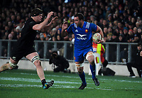 France's Alexandre Lapandry tries to hand off NZ's Scott Barrett during the Steinlager Series international rugby match between the New Zealand All Blacks and France at Forsyth Barr Stadium in Wellington, New Zealand on Saturday, 23 June 2018. Photo: Dave Lintott / lintottphoto.co.nz