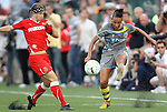 27 August 2011: Philadelphia's Lianne Sanderson (ENG) (10) and Western New York's Rebecca Moros (left). Western New York Flash defeated the Philadelphia Independence 5-4 on penalty kicks to win the final after the game ended in a 1-1 tie after overtime at Sahlen's Stadium in Rochester, New York in the Women's Professional Soccer championship game.