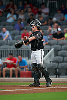 Fayetteville Woodpeckers catcher Michael Papierski (28) during a Carolina League game against the Down East Wood Ducks on August 13, 2019 at SEGRA Stadium in Fayetteville, North Carolina.  Fayetteville defeated Down East 5-3.  (Mike Janes/Four Seam Images)