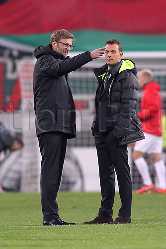 18.02.2016. Augsburg, Germany. UEFA Europa League football. Augsburg versus Liverpool FC.  Augsburg Trainer and Juergen Klopp ( FC Liverpool )
