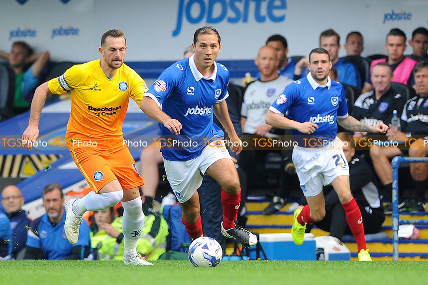 Joe Devera of Portsmouth brings the ball forward - Portsmouth vs Wycombe Wanderers - Sky Bet League Two Football at Fratton Park, Portsmouth, Hampshire - 20/09/14 - MANDATORY CREDIT: Denis Murphy/TGSPHOTO - Self billing applies where appropriate - contact@tgsphoto.co.uk - NO UNPAID USE