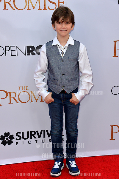 Alexander James Rodriguez at the premiere for &quot;The Promise&quot; at the TCL Chinese Theatre, Hollywood. Los Angeles, USA 12 April  2017<br /> Picture: Paul Smith/Featureflash/SilverHub 0208 004 5359 sales@silverhubmedia.com