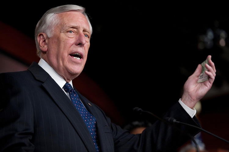 UNITED STATES - JULY 25: House Minority Whip Steny Hoyer, D-Md., speaks during the House Democrats' news conference on jobs on Monday, July 25, 2011. (Photo By Bill Clark/Roll Call)