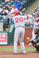 Spencer Kieboom (20) of the Hagerstown Suns at bat against the Greensboro Grasshoppers at NewBridge Bank Park on May 20, 2014 in Greensboro, North Carolina.  The Grasshoppers defeated the Suns 5-4. (Brian Westerholt/Four Seam Images)