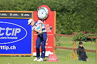 Simon Dyson (ENG) tees off the 12th tee during Thursday's Round 1 of the 2017 Omega European Masters held at Golf Club Crans-Sur-Sierre, Crans Montana, Switzerland. 7th September 2017.<br /> Picture: Eoin Clarke | Golffile<br /> <br /> <br /> All photos usage must carry mandatory copyright credit (&copy; Golffile | Eoin Clarke)