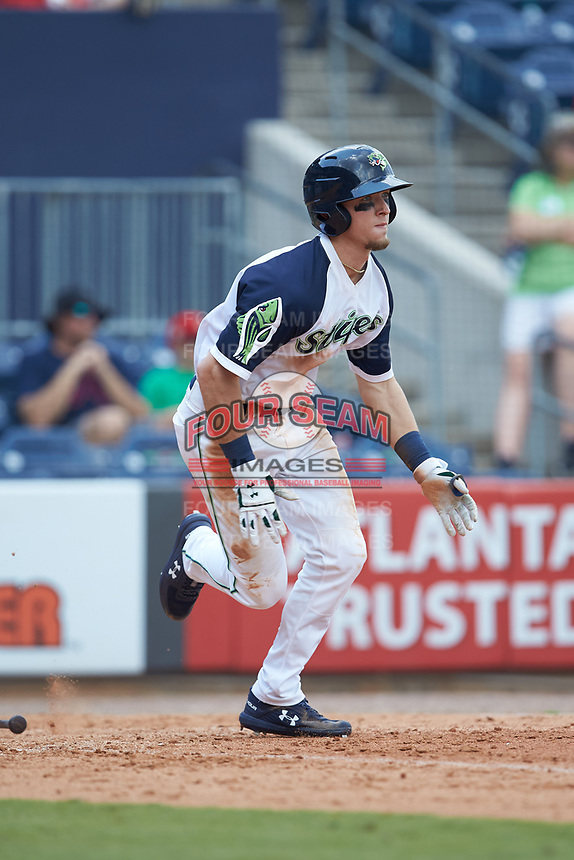 Drew Waters (11) of the Gwinnett Stripers starts down the first base line against the Scranton/Wilkes-Barre RailRiders at Coolray Field on August 18, 2019 in Lawrenceville, Georgia. The RailRiders defeated the Stripers 9-3. (Brian Westerholt/Four Seam Images)