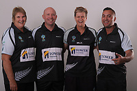 The BlackJacks, from left: Coach Sharon Sims, Mike Nagy, Jo Edwards and Shannon McIlroy. Bowls Premier League team headshots at Naenae Bowling Club in Wellington, New Zealand on Sunday, 22 April 2018. Photo: Dave Lintott / lintottphoto.co.nz