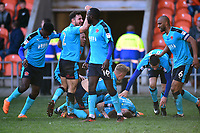 Fleetwood Town's Wes Burns celebrates scoring his side's first goal with his team-mates<br /> <br /> Photographer Richard Martin-Roberts/CameraSport<br /> <br /> The EFL Sky Bet League One - Blackpool v Fleetwood Town - Saturday 14th April 2018 - Bloomfield Road - Blackpool<br /> <br /> World Copyright &not;&copy; 2018 CameraSport. All rights reserved. 43 Linden Ave. Countesthorpe. Leicester. England. LE8 5PG - Tel: +44 (0) 116 277 4147 - admin@camerasport.com - www.camerasport.com