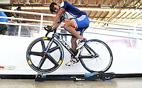 CALI – COLOMBIA – 15-02-2017: Deborah Herold, ciclista de India, durante entreno en el Velodromo Alcides Nieto Patiño, sede de la Copa Mundo UCI de Pista de Cali 2017. / Deborah Herold, Cyclist from India, during a training sesión at the Alcides Nieto Patiño Velodrome, home of the Cali Track World Cup 2017 UCI. Photo: VizzorImage / Luis Ramirez / Staff.
