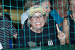Wake Forest Super Fan Julie Griffin cheers for her Demon Deacons during the finals of the 2018 NCAA Men's Tennis Singles Championship at the Wake Forest Indoor Tennis Center on May 28, 2018 in Winston-Salem, North Carolina. Petros Chrysochos defeated teammate Borna Gojo 6-3 6-3.  (Brian Westerholt/Sports On Film)