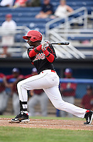 Batavia Muckdogs outfielder Galvi Moscat (27) at bat during a game against the Mahoning Valley Scrappers on June 22, 2015 at Dwyer Stadium in Batavia, New York.  Mahoning Valley defeated Batavia 15-11.  (Mike Janes/Four Seam Images)