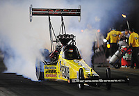 Jun. 29, 2012; Joliet, IL, USA: NHRA top fuel dragster driver Spencer Massey during qualifying for the Route 66 Nationals at Route 66 Raceway. Mandatory Credit: Mark J. Rebilas-