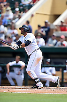 Detroit Tigers outfielder J.D. Martinez (28) hits a home run during a Spring Training game against the Washington Nationals on March 22, 2015 at Joker Marchant Stadium in Lakeland, Florida.  The game ended in a 7-7 tie.  (Mike Janes/Four Seam Images)