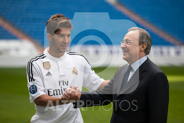 Real Madrid´s President Florentino Perez (R) and Brazil international soccer player Lucas Silva during his official presentation at the Santiago Bernabeu stadium in Madrid, Spain. January 26, 2015. (ALTERPHOTOS/Victor Blanco)