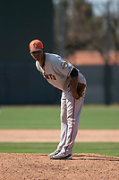San Francisco Giants relief pitcher Camilo Doval (15) during a Minor League Spring Training game against the Oakland Athletics at Lew Wolff Training Complex on March 26, 2018 in Mesa, Arizona. (Zachary Lucy/Four Seam Images)
