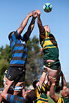 Kiniviliame Bila and William Crisp compete for the ball at lineout time. Counties Manukau Club Rugby game between Pukekohe and Onewhero played at Colin Lawrie Fields Pukekohe on Saturday 19th March 2011..Pukekohe won 37 - 8.
