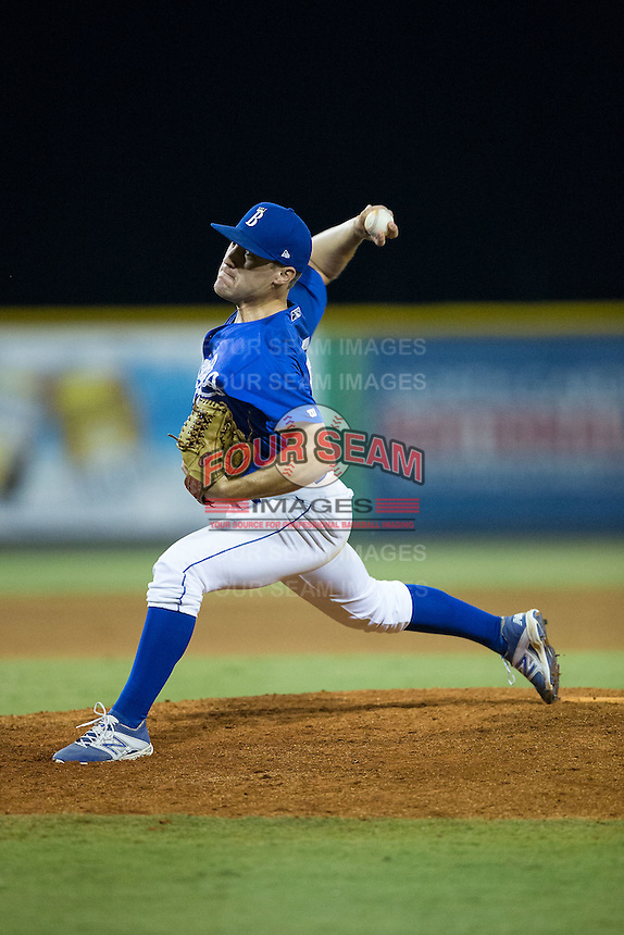 Burlington Royals relief pitcher Jacob Bodner (55) in action against the Greeneville Astros at Burlington Athletic Park on August 29, 2015 in Burlington, North Carolina.  The Royals defeated the Astros 3-1. (Brian Westerholt/Four Seam Images)