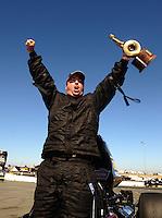 Jul. 18, 2010; Sonoma, CA, USA; NHRA super comp driver Kyle Seipel celebrates after winning the Fram Autolite Nationals at Infineon Raceway. Mandatory Credit: Mark J. Rebilas-