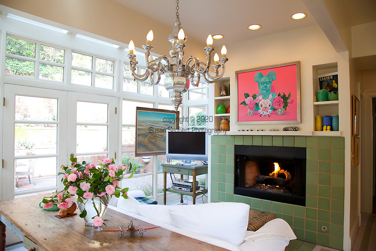 The Portland, Oregon home of Wendy Burden, author of  the memoir, Dead End Gene Pool.  The painting above the fireplace is by Ms. Burden.