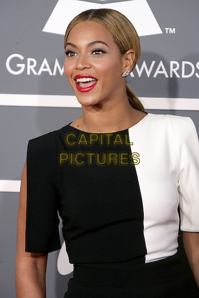 Beyonce Knowles.The 55th Annual GRAMMY Awards held at STAPLES Center Los Angeles, California, USA..February 11th, 2013.half length black whit top mouth open red lipstick .CAP/ADM.©AdMedia/Capital Pictures.