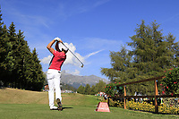 Haydn Porteous (RSA) tees off the 18th tee during Saturday's Round 3 of the 2018 Omega European Masters, held at the Golf Club Crans-Sur-Sierre, Crans Montana, Switzerland. 8th September 2018.<br /> Picture: Eoin Clarke | Golffile<br /> <br /> <br /> All photos usage must carry mandatory copyright credit (&copy; Golffile | Eoin Clarke)