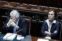 Il presidente del Consiglio Mario Monti, e  Elsa Fornero.Roma 05/07/2012 Camera dei Deputati - Informativa urgente del Governo sugli esiti del Consiglio europeo del 28-29 giugno.Foto Serena Cremaschi Insidefoto