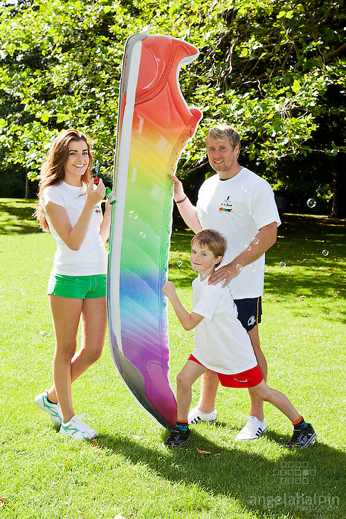A Silly Run For A Serious Cause!: Pictured at the launch of Dublin Simon Community's Fun Run were , Niamh Kavanagh (model), Fionn Carr (Leinster Rugby player) & Arthur McCann (aged 8)..As well as the 5-mile run this year's event, taking place on Oct 6 in the Phoenix Park, will feature kids races and funzone, live bands, food tasting, entertainers, spot prizes and fancy dress. Register now at www.funrun.ie Pic Angela Halpin **** No Repro Fee****.