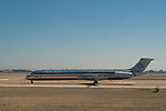 American Airlines DC-9 on taxiway at Dallas Fort Worth International Airport; DFW; Dallas; Texas