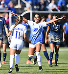 St. Louis University player Emily Groark (right) runs up to congratulate teammate Hannah Friedrich after Friedrich scored on a penalty kick inside the goal box. St. Louis University defeated George Washington in the championship game of the Atlantic 10 Conference Women's Soccer Tournament at Robert Hermann Stadium at St. Louis University on Sunday November 10, 2019.<br /> Photon by Tim Vizer