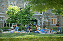 Students socialize and study during finals week on the Abele Quad.