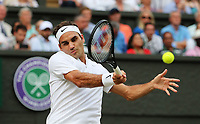 Roger Federer (SUI) in action against Dusan Lajovic (SRB)   during the Wimbledon Championships 2017, Day 4, All England Lawn Tennis Club, London UK  06July 2017