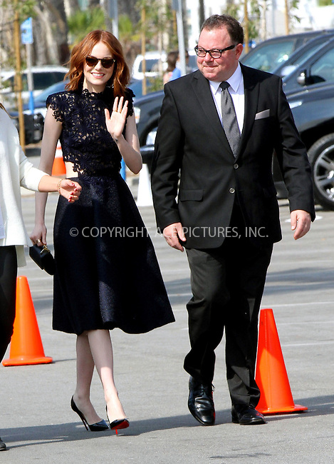 WWW.ACEPIXS.COM<br /> <br /> February 21 2015, Los Angeles CA<br /> <br /> Actress Emma Stone and father Jeff Stone arriving at the 2015 Film Independent Spirit Awards at Santa Monica Beach on February 21, 2015 in Santa Monica, California.<br /> <br /> <br /> Please byline: Nancy Rivera/ACE Pictures<br /> <br /> ACE Pictures, Inc.<br /> www.acepixs.com, Email: info@acepixs.com<br /> Tel: 646 769 0430