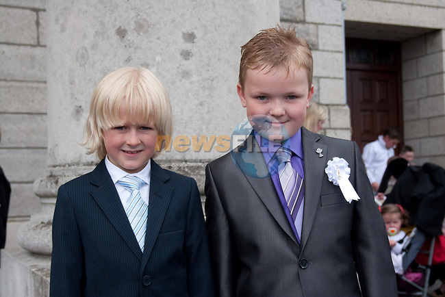 Michael Connolly and Connel Rice at St. Patrick's BNS First Communion at the Lourdes Church on Saturday. Picture: Newsfile/Mark Carroll.