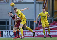 Fleetwood Town's Harry Souttar heads clear<br /> <br /> Photographer David Shipman/CameraSport<br /> <br /> The EFL Sky Bet League One - Bradford City v Fleetwood Town - Saturday 9th February 2019 - Valley Parade - Bradford<br /> <br /> World Copyright &copy; 2019 CameraSport. All rights reserved. 43 Linden Ave. Countesthorpe. Leicester. England. LE8 5PG - Tel: +44 (0) 116 277 4147 - admin@camerasport.com - www.camerasport.com