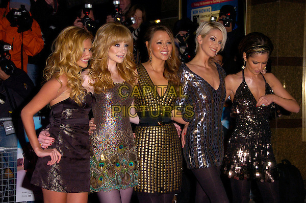 """GIRLS ALOUD - NADINE COYLE, NICOLA ROBERTS, KIMBERLY WALSH, SARAH HARDING & CHERYL COLE.The UK Film Premiere of """"St. Trinian's"""" held at the Empire Leicester Square, London, England..December 10th 2007.half length tweedy black sequined sequins gold studded studs beaded grey gray dress dresses tights peacock feathers halterneck belt hand on hip looking down adjusting top.CAP/CAN.©Can Nguyen/Capital Pictures"""