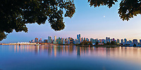 Vancouver Skyline Late Evening Panorama from Stanley Park.