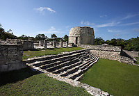 Xani Nah, The Oratory with the Round temple called the Observatory in the distance, Mayapan, old Maya capital, c. 1250, destroyed during civil war in 1441, Yucatan, Mexico. Picture by Manuel Cohen