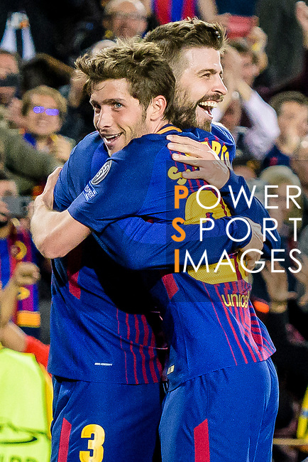 Gerard Pique Bernabeu of FC Barcelona (L) celebrates after scoring his goal with Sergi Roberto Carnicer of FC Barcelona (R) during the UEFA Champions League 2017-18 quarter-finals (1st leg) match between FC Barcelona and AS Roma at Camp Nou on 05 April 2018 in Barcelona, Spain. Photo by Vicens Gimenez / Power Sport Images