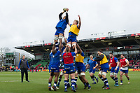 Bath Rugby players warm up prior to the match. Aviva Premiership match, between Harlequins and Bath Rugby on March 2, 2018 at the Twickenham Stoop in London, England. Photo by: Patrick Khachfe / Onside Images