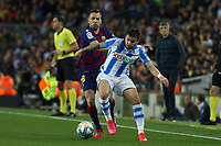 7th March 2020; Camp Nou, Barcelona, Catalonia, Spain; La Liga Football, Barcelona versus Real Sociedad;  Portu of Real holds off the challenge from Jordi Alba
