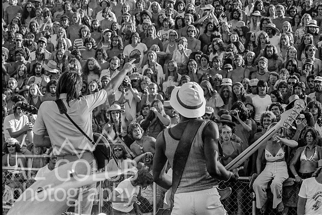 Second annual Mountain Aire Renaissance Fair and Musical festival produced by Rock'n Chair Productions.  On stage is Boz Skaggs on June 15, 1975 at the Calaveras County Fairground near Angle Camp California.  Photo by Al Golub