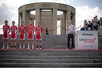 Team Cofidis only started the race with 5 riders.  Team presentation with the King Albert I monument, World War I Memorial, in the background. <br /> <br /> <br /> 1st Great War Remembrance Race 2018 (UCI Europe Tour Cat. 1.1) <br /> Nieuwpoort &gt; Ieper (BE) 192.7 km