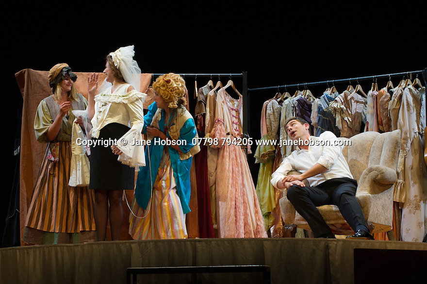 Edinburgh, UK. 12.08.2015. Director and conductor Ivan Fischer, presents THE MARRIAGE OF FIGARO, by Wolfgang Amadeus Mozart, at the Festival Theatre, as part of the Edinburgh International Festival. The production features the Budapest Festival Orchestra, on stage, and stars Sylvia Schwartz (as Susanna) and <br /> Hanno Müller-Brachmann (as Figaro). Photograph © Jane Hobson.