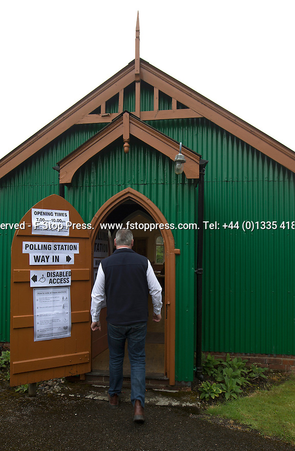 07/05/15<br /> <br /> Voters arrive to cast their votes at The Reading Room, Snelston, Derbyshire.<br /> <br /> All Rights Reserved - F Stop Press.  www.fstoppress.com. Tel: +44 (0)1335 418629 +44(0)7765 242650