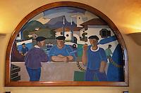 Europe/France/Aquitaine/64/Pyrénées-Atlantiques/Ciboure: Peintures basquesl représentant le port de St Jean de Luz ,Ciboure  et ses pécheurs basques